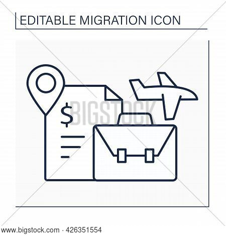 Labour Migration Line Icon. Movement To Another State To Find Job. Better Living Conditions. Work Vi
