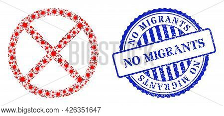 Covid-2019 Collage Forbidden Icon, And Grunge No Migrants Seal Stamp. Forbidden Mosaic For Isolation