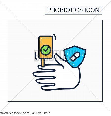 Antidiabetic Activity Probiotics Color Icon. Control Of Sugar In Blood And Healthy Concept. Diabet P