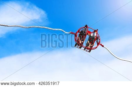 Extreme Slingshot Ride In The City Park