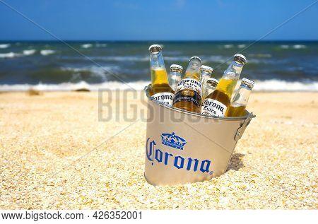 Illustrative Editorial Of Corona Beer Bottles In The Branded Bucket In Sand: Genichesk, Ukraine - 19