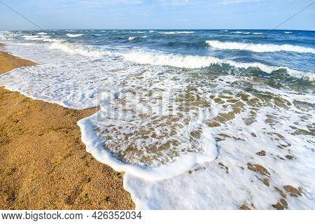 Beautiful Sea Waves On A Sandy Beach