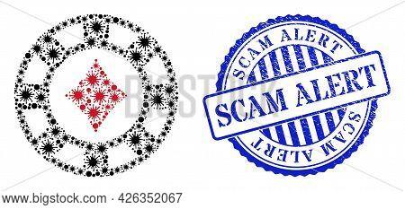 Coronavirus Mosaic Diamonds Casino Chip Icon, And Grunge Scam Alert Stamp. Diamonds Casino Chip Mosa