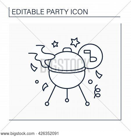 Barbecue Line Icon. Outdoor Party Or Picnic With Barbecued Food. Party Concept. Isolated Vector Illu
