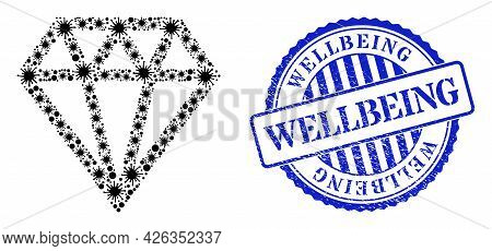 Contagious Mosaic Brilliant Icon, And Grunge Wellbeing Seal Stamp. Brilliant Collage For Epidemic Im