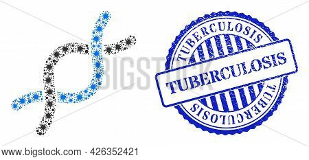 Coronavirus Collage Dna Helix Icon, And Grunge Tuberculosis Seal Stamp. Dna Helix Mosaic For Medical