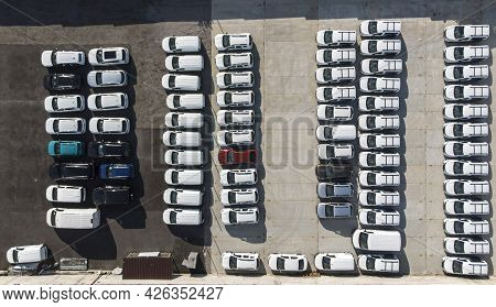 Aerial. Car Parking. Top View From Drone.