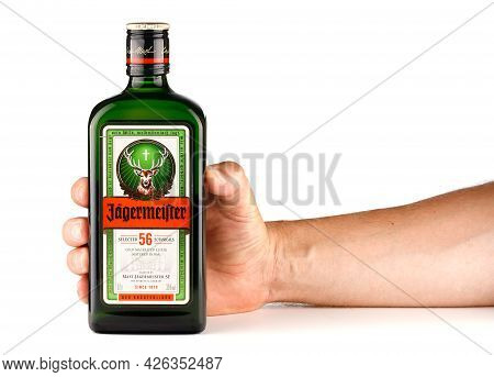 Lviv, Ukraine - June 24, 2021: Jagermeister Liqueur And Alcoholic Beverage