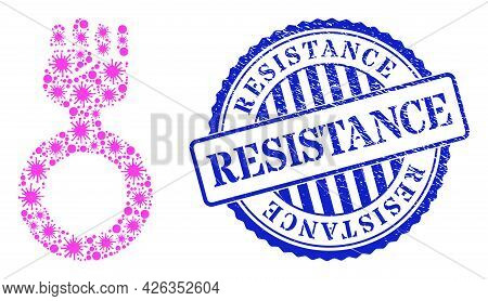 Covid-2019 Collage Feminism Symbol Icon, And Grunge Resistance Seal Stamp. Feminism Symbol Collage F
