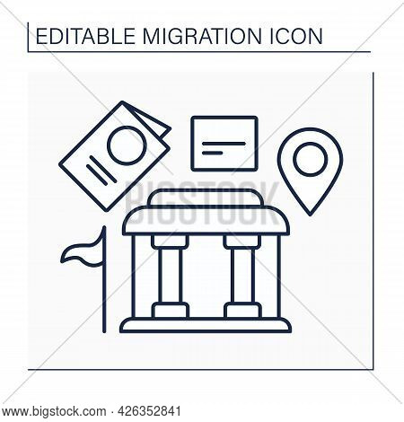 Embassy Line Icon. Relocation Citizens. New Passport And Documents In Different States. Government H