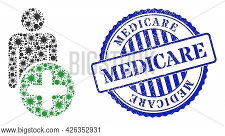 Infection Mosaic Add Man Figure Icon, And Grunge Medicare Seal. Add Man Figure Collage For Pandemic