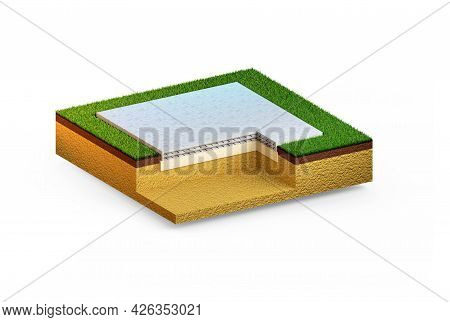 Slab-on-grade Base. Isolated Cg Industrial 3d Illustration