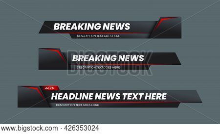 Breaking News Lower Third With Modern Futuristic Red And Black Background. Lower Third Tv News Bars