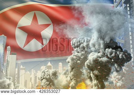 Big Smoke Pillar With Fire In Abstract City - Concept Of Industrial Blast Or Terroristic Act On Nort