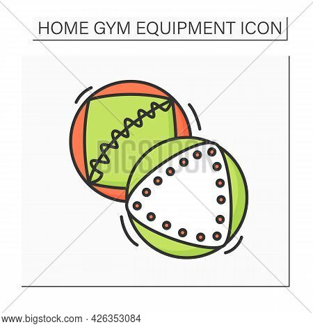 Medicine Ball Color Icon. Two Heavy Medicine Balls. Concept Of Home Gym Athlete Training, Personal F