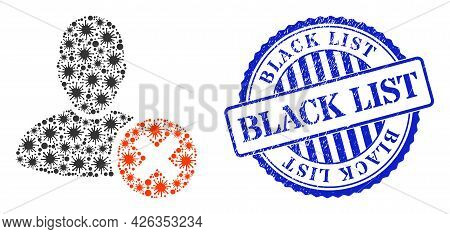 Covid Collage Delete User Icon, And Grunge Black List Stamp. Delete User Collage For Pandemic Images