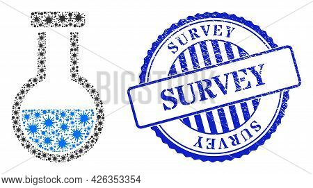 Bacilla Collage Analysis Flask Icon, And Grunge Survey Seal Stamp. Analysis Flask Mosaic For Pandemi