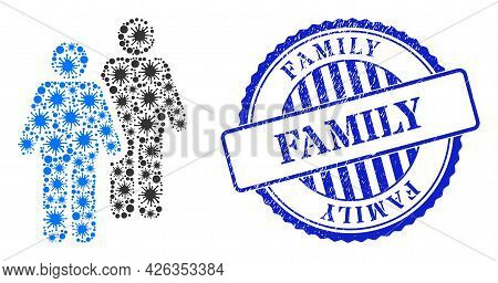 Covid-2019 Mosaic Gay Persons Couple Icon, And Grunge Family Stamp. Gay Persons Couple Mosaic For Br