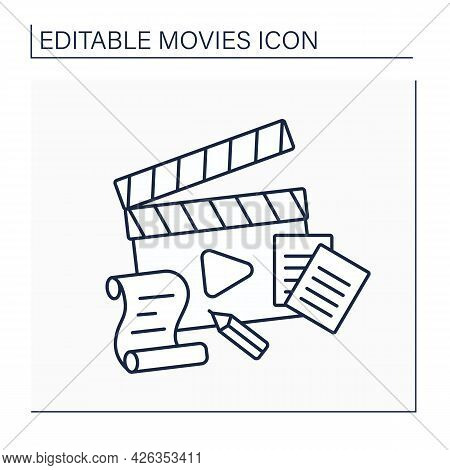 Plot Line Icon. Sequence Of Events, Principle Of Cause-and-effect. Main Element For Creating Movies.