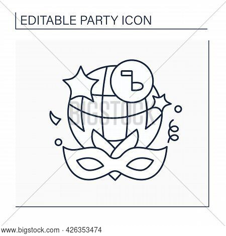 Fancy Dress Party Line Icon. Costume Party. Guests Want To Looks Like Famous Person, Animal, Or Char