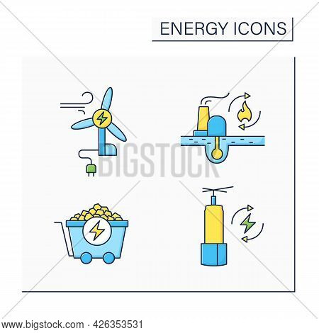 Energy Color Icons Set. Wind, Coal Energy, Renewable Fossil Fuels. Storage. Power Stations. Electric