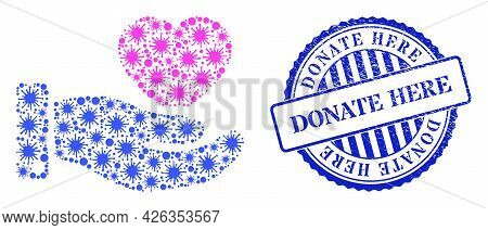 Cell Collage Favourite Heart Offer Hand Icon, And Grunge Donate Here Seal Stamp. Favourite Heart Off