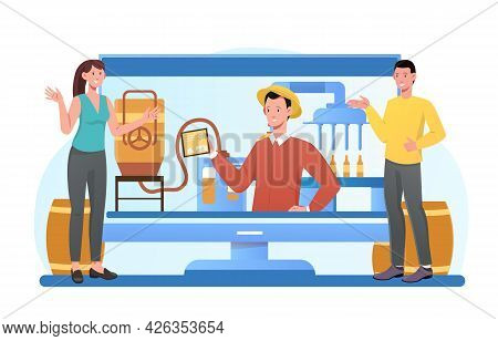 Smiling Male And Female Characters Are Working On Craft Beer Production Together. Concept Of Craft B