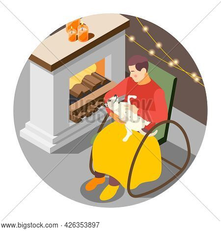 Hygge Lifestyle Isometric Composition With Man And His Dog In Cozy Room With Fireplace Candles Plaid