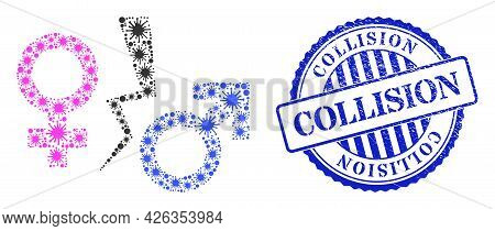 Covid Collage Divorce Symbol Icon, And Grunge Collision Badge. Divorce Symbol Collage For Medical Te