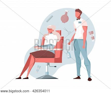 Barbershop Flat Composition With Male Hair Stylist And Female Client Vector Illustration