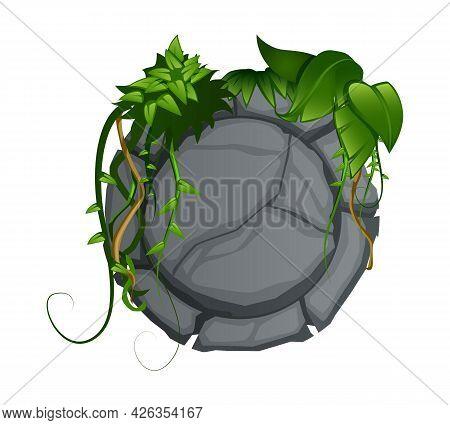 Cartoon Round Grey Stone With Green Vine Decorative Element For Garden Vector Illustration