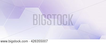 Abstract Violet And White Hexagons Geometric Design With A Space Background. Futuristic Technology D