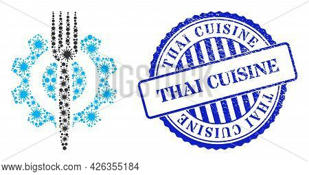 Contagious Collage Food Hitech Icon, And Grunge Thai Cuisine Seal Stamp. Food Hitech Collage For Iso