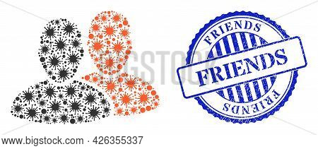 Bacilla Collage Users Icon, And Grunge Friends Seal Stamp. Users Collage For Isolation Templates, An