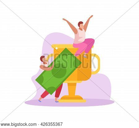 Crowdfunding Flat Icon With People Collecting Money Vector Illustration