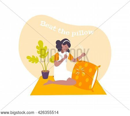 Woman Handling Stress By Beating Pillow Flat Composition Vector Illustration