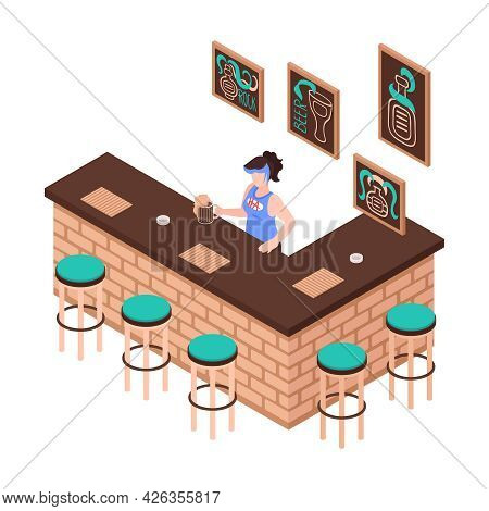 Bar Counter Isometric Icon With Female Bartender Stools Posters On Walls 3d Vector Illustration