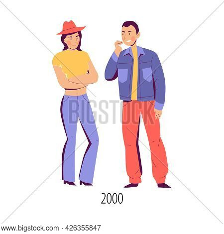 Man And Woman Dressed In Clothes Of 2000 Fashion Flat Isolated Vector Illustration