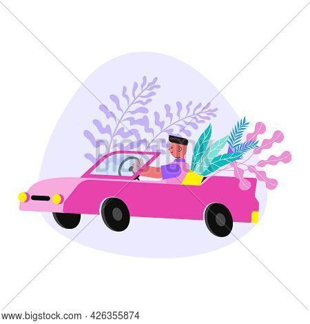 Floristry Flat Composition With Character Carrying Plants In Pink Car Vector Illustration