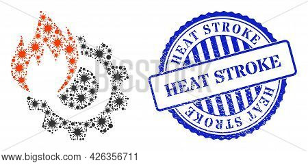Contagious Mosaic Hot Gear Icon, And Grunge Heat Stroke Seal Stamp. Hot Gear Mosaic For Breakout Ima