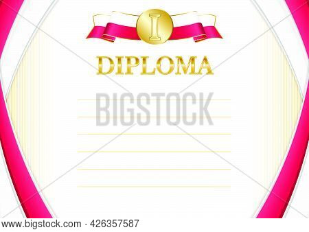 Horizontal  Frame And Border With Poland Flag, Template Elements For Your Certificate And Diploma. V