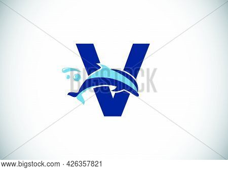 Initial V Monogram Letter Alphabet With A Dolphin Logo Design. Water Animal Icon. Font Emblem. Moder