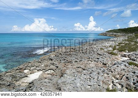 The View Of Half Moon Cay Eroded Shore And Transparent Caribbean Sea Waters (bahamas).