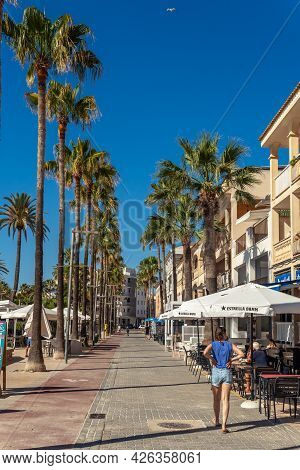 Colonia De Sant Jordi, Spain; July 02 2021: Promenade Of The Mallorcan Town Of Colonia De Sant Jordi