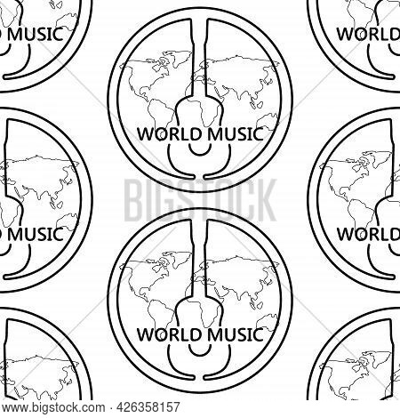 Black And White Pattern With Guitar And World Map, Text World Music. Linear Black Pattern With A Gui