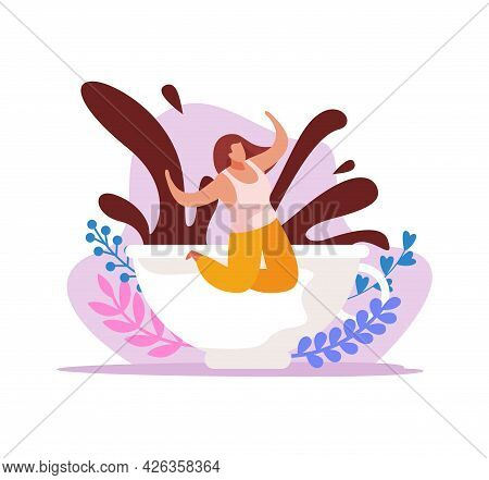 Caffeine Stimulating Effect Composition With Happy Woman And Coffee Splashes In Cup Flat Vector Illu