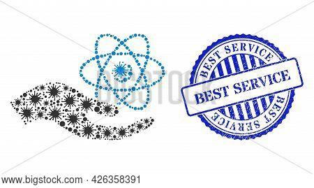Bacterium Collage Quantum Service Hand Icon, And Grunge Best Service Seal Stamp. Quantum Service Han