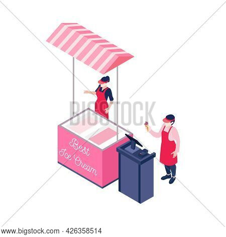 Outdoor Ice Cream Stall And Two Characters Of Vendors 3d Isometric Vector Illustration