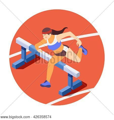 Hurdling Isometric Composition With Woman Jumping Over Hurdles Vector Illustration