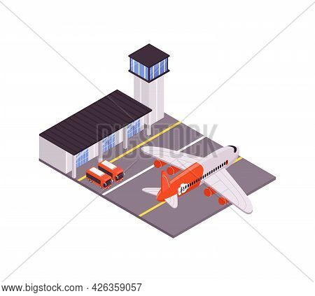 Air Travel Isometric Composition With Airport Plane Aerodrome 3d Vector Illustration
